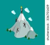 flat 3d isometric mountain...   Shutterstock .eps vector #336701609