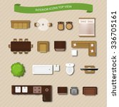 interior icons top view with... | Shutterstock .eps vector #336705161