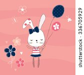 cute white bunny with butterfly and flower, happy birthday card vector illustration