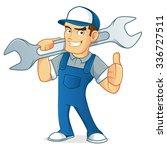 mechanic carrying wrench  | Shutterstock .eps vector #336727511