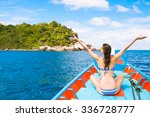 female enjoying a boat ride... | Shutterstock . vector #336728777