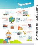 colourful travel infographic.... | Shutterstock . vector #336733841