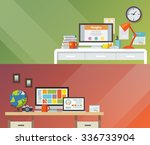 colorfu banners set. workplace. ... | Shutterstock . vector #336733904