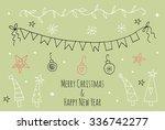doodle christmas season vintage ... | Shutterstock .eps vector #336742277