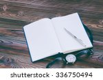 opened lined diary and silver... | Shutterstock . vector #336750494