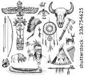 set of wild west american... | Shutterstock .eps vector #336754625