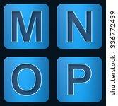 set dark blue letters with neon ... | Shutterstock . vector #336772439