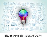 idea concept with light bulb... | Shutterstock .eps vector #336780179