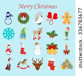 christmas icons set on the blue ... | Shutterstock .eps vector #336783677