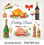 holiday dinner objects set | Shutterstock .eps vector #336789161