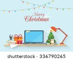christmas workplace. table with ... | Shutterstock .eps vector #336790265