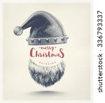 santa hat and beard  merry... | Shutterstock .eps vector #336793337