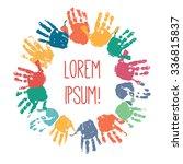 Colorful Children Handprints In ...