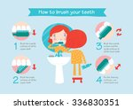 instructions on how to brush... | Shutterstock .eps vector #336830351