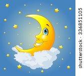 smiling moon on radial... | Shutterstock .eps vector #336851105