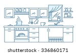 kitchen interior vector on flat ... | Shutterstock .eps vector #336860171