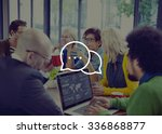 messaging talking icon... | Shutterstock . vector #336868877