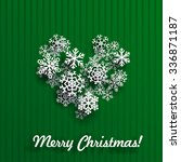 christmas card with heart made... | Shutterstock . vector #336871187