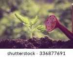 green sprout growing with... | Shutterstock . vector #336877691