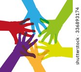 six colorful hands touching... | Shutterstock .eps vector #336893174