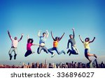cheerful people jumping... | Shutterstock . vector #336896027