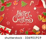 christmas card with objects and ... | Shutterstock .eps vector #336901919