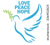 dove and olive branch  symbol... | Shutterstock .eps vector #336902825