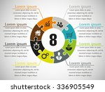 eight piece flat puzzle round... | Shutterstock .eps vector #336905549