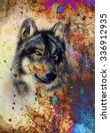 Wolf Painting  Color Abstract...