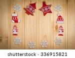 wooden christmas figurines... | Shutterstock . vector #336915821