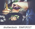 housewife cooking grilled steak ... | Shutterstock . vector #336919217