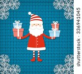 santa on knit background.... | Shutterstock .eps vector #336941045