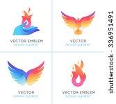 Stock vector vector set of abstract concepts logo design concepts and emblems in bright gradient colors 336951491