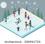 ice rink with people isometric... | Shutterstock .eps vector #336961724