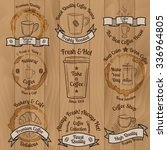 set of brown vintage coffee... | Shutterstock .eps vector #336964805
