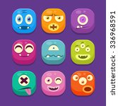 monster with different emotions ... | Shutterstock .eps vector #336968591