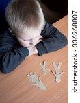 confused child with broken... | Shutterstock . vector #336968807