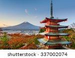 mt. fuji  japan from chureito... | Shutterstock . vector #337002074