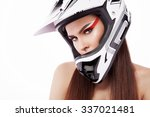 beautiful girl with makeup in a ... | Shutterstock . vector #337021481