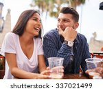 attractive hispanic couple... | Shutterstock . vector #337021499