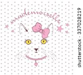 Stock vector vector sketch of a stylized kitten s face 337028219