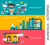 virtual reality concept banners ... | Shutterstock .eps vector #337030961