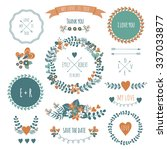 vintage  label set hand drawn... | Shutterstock .eps vector #337033877
