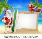 Cartoon Of Santa Claus Holding...