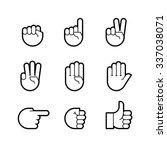 hand gestures. line icons set.... | Shutterstock .eps vector #337038071