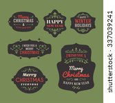 set of retro vintage christmas... | Shutterstock .eps vector #337039241