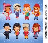 cartoon characters in winter... | Shutterstock .eps vector #337041755