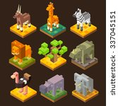 isometric 3d african animal set ... | Shutterstock .eps vector #337045151