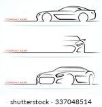Stock vector set of sports car silhouettes isolated on white background front and side views vector 337048514