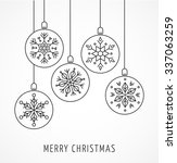 Snowlakes, geometric Christmas ornaments, background | Shutterstock vector #337063259